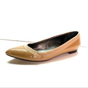 LANVIN Pointed-Toe Nude Ballet Flat, 39.5 IT/US 8